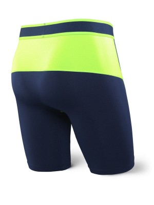 Bokserki Męskie SAXX Kinetic Long Leg Navy Neon Green
