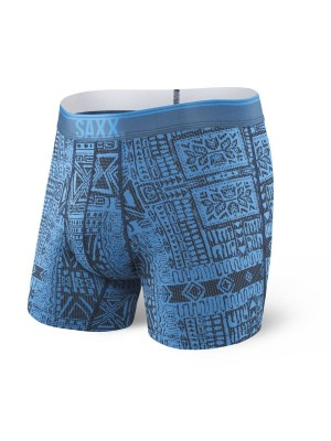 Bokserki Męskie SAXX Quest Boxer Brief Fly PR Blue Dire Tribe